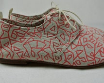 Size UK4 US6.5 EU37: Ladies Handmade Oxford Style shoe. Unique red geometric print on soft suede Leather
