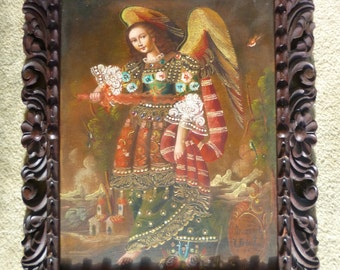 Spanish colonial style contemporary painting from Peru of Archangle Uriel