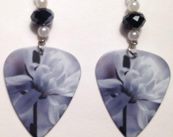 1 Pair- Flower Guitar Pick Earrings