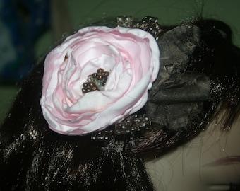 Pink & Brown Flower Hair Clip, Facinator for Children or Adults, Boho, Statement Flower