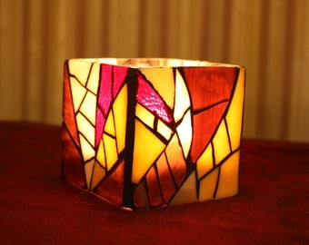 Purple Stained Glass Candle Holder/Vase, Purple Mosaic Candleholder