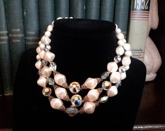 Cream Faux Pearl and Swavorski Crystal 3 Strand Wedding Necklace