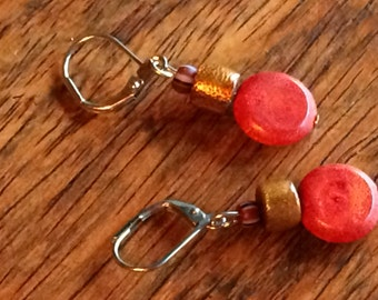 0154 - Coral and ceramic Earrings