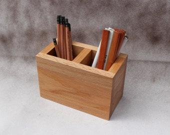 Wood Desk Organizer / Office Desk Caddy / Pencil Holder / Artist Brush Holder / Handmade by Recovered Design