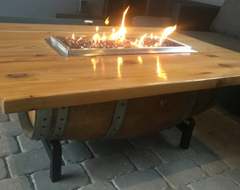 wine barrel coffee table fire pit with cork and epoxy top