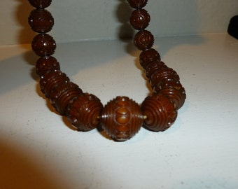 Vintage Galalith Chocolate Brown Beaded Necklace from the 1930's