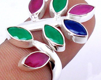 Ring sterling silver. 925 ruby Sapphire Emerald