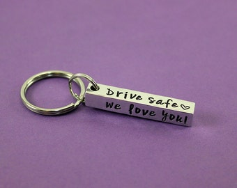 Personalized Bar Keychain - Custom Stamped 4 sided Bar Keychain - New Driver Keychain Gift - Names Dates Words - Drive Safe - Sweet 16 gift