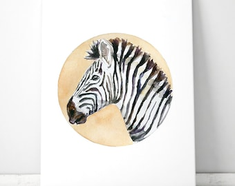 Zebra Art - zebra watercolor painting - art print - Nursery zebra orange yellow circle - zebra illustration Africa Nursery Art