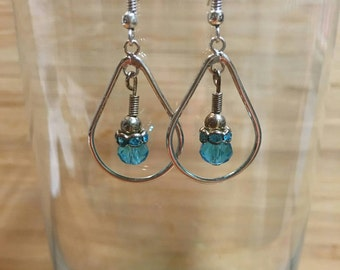 Hand Crafted Blue Crystal Earrings