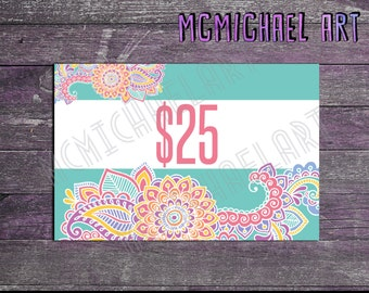 Paisley Price Display Cards - 4x6 inches