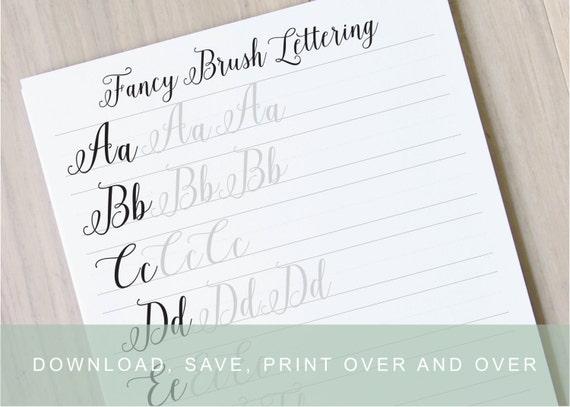 Fancy brush calligraphy lettering worksheets