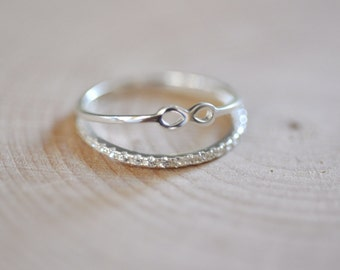 Sterling Silver Infinity Ring, Two Layer Ring, Infinity Ring with CZ Band, Dainty Infinity Ring