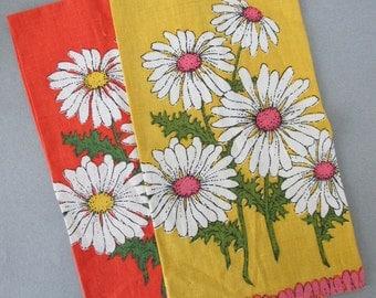 Vintage Fallani & Cohn Linen Tea Towels, S/2 | daisy dishtowels, linen kitchen towels, orange, pink, yellow dish towels, 100% linen