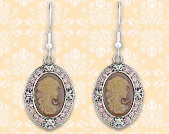 Pink Cameo Earrings - 48852