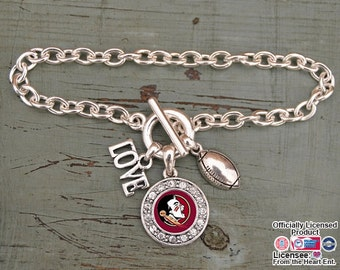 Florida State Seminoles 3 Charm Football Bracelet
