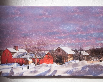 10 x 15 Thin Wrapped Canvas - New England Winter