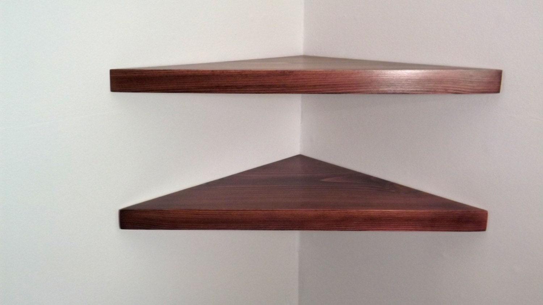 set of 2 22 inch floating corner shelves with black cherry. Black Bedroom Furniture Sets. Home Design Ideas