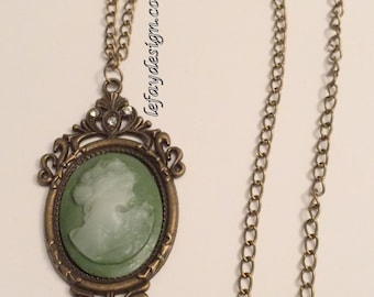 Forest Lady cameo bronze and gree