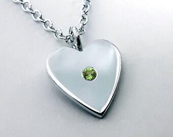 Peridot Heart Necklace Pendant in Sterling Silver - Sterling Heart Necklace, Sterling Silver Heart Necklace, Sterling Silver Heart Pendant