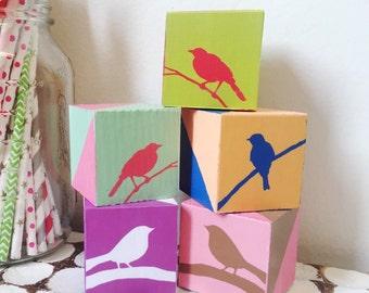 Geometric 2 inch wooden blocks with birds