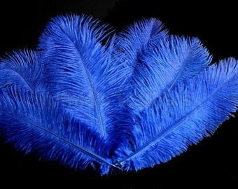 """8 Grade A 10-12"""" Royal Blue Ostrich Drab Plume Feathers Wedding, Millinery, NEW R-11"""