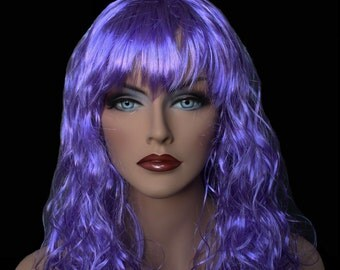 """18"""" Long Lavender Synthetic Curly Wavy Hair Wig for Cosplay Party Fancy Dress  7L22"""