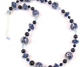 Blue and White Porcelain Necklace