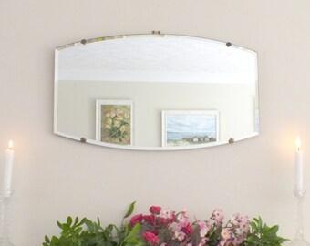 Antique Mirror Vintage Mirror Art Deco mirror Antique frameless mirror Bevelled edge bevelled mirror French shabby chic short chain  M110