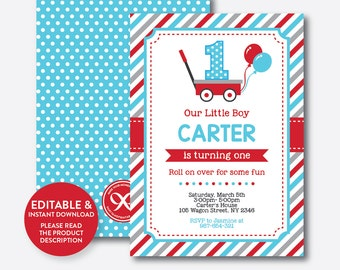 Instant Download, Editable Red Wagon Birthday Invitation, Wagon Invitation, Red Wagon Invitation, Wagon Party Invitation, Boy Invite(SKB.17)