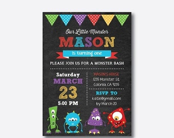 Monster Birthday Invitation, Monster Invitation, Monster Party Invitation, Monster Bash Invitation, Personalized, Chalkboard (CKB.32)