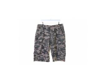 Quiksilver Mens Camo Cargo Shorts W36 Khaki Cotton