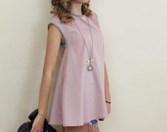 top blouse pastel pink sleeveless polka dot made in france
