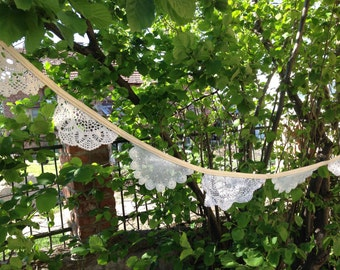 Crochet Garland Decor / Crochet Banner / Crochet Birthday Banner / Wall Hanging / Photo prop / Wedding Crochet Doily Banner