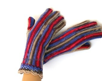 Gloves with Fingers Blue Red Brown Beige Women's Gloves with Fingers Girl's Finger Gloves Crochet Gloves with Fingers Knitted Finger Gloves