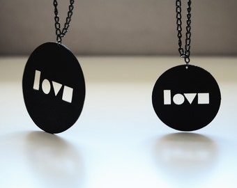 Leather Locket Necklace, Laser Cut Gift, Girlfriend Necklace, Statement Pendant, Custom Necklace, Modern Art Jewelry, Minimalist Necklace