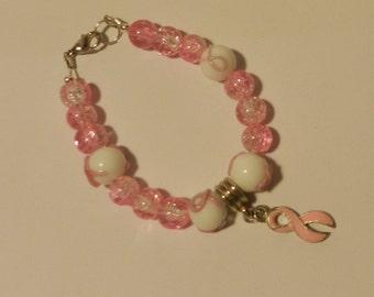 Pink Ribbon beaded  Awareness bracelet  V4708