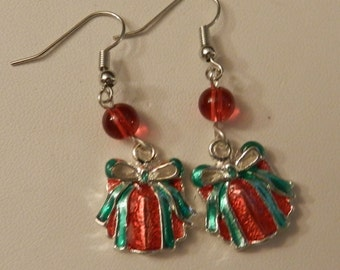 Silver Red and Green Christmas Present crystals  Earrings V1
