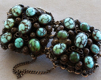 Antique Austro-Hungarian Blue Green Turquoise .800 Silver Bracelet
