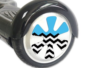 Skin Decal Wrap for Hoverboard Balance Board Scooter Wheels Baby Blue Chevron