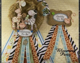 Safari Baby Shower Corsages Mommy To Be Corsage and Daddy To Be Baby Shower Corsage Safari Theme Corsage
