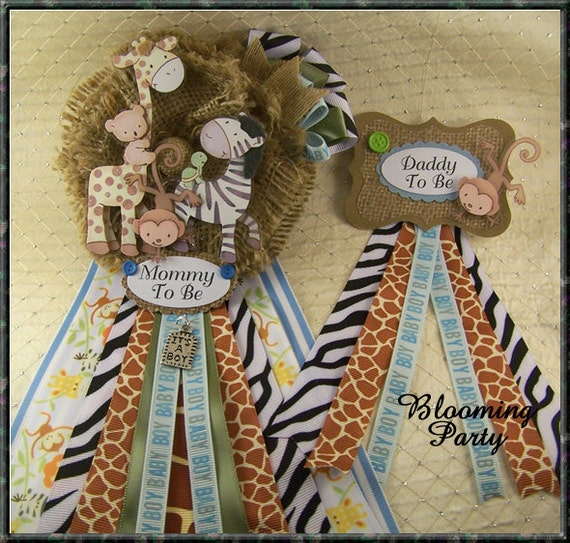 Safari Baby Shower Corsage: Safari Baby Shower Corsages Mommy To Be Corsage And Daddy To