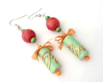Paper bead earrings-Quilled earrings-Unique-Handmade-Recycled beads-Eco friendly-Wooden beads-Handmade jewelry-Greek jewelry-Gift for her