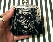 Zombie Coin Purse - Walking Dead/Horror Inspired - Halloween - Goth/Creepy Present - Spooky Fashion Gift For Her - Stocking Stuffer/Filler