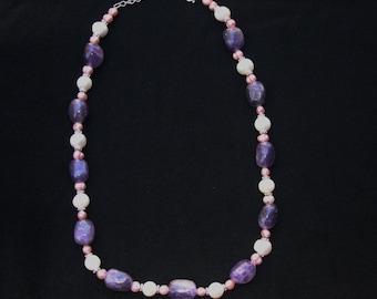 On Sale!! Vintage Sterling Silver AMETHYST Freshwater Pearl  Necklace 59 gr.