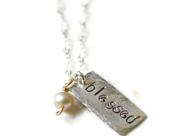 Blessed Necklace, Blessed Charm Necklace Sterling, Handstamped Necklace, Inspirational Jewelry