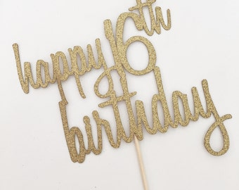 16th Birthday Topper - 16th Birthday Decor - Happy 16th Birthday Topper - Sixteen Cake Topper - Gold Glitter Topper - Gold 16th Birthday