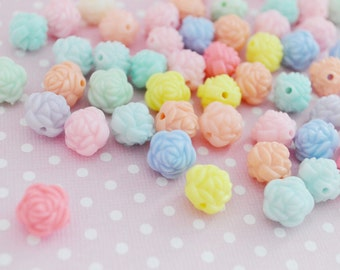 13mm Pastel Kawaii Rose Beads - 20 piece set