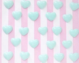 14mm Kawaii Hot Pink Heart Flatback Resin Decoden Cabochons - 10 piece set