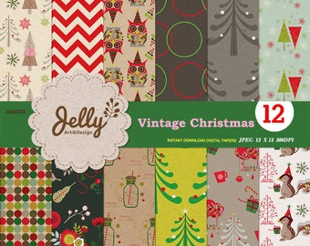 INSTANT DOWNLOAD Vintage Digital Pattern Paper, Christmas Papers,Flowers,Christmas Trees,Snow Flakes and more.Scrapbooking,DIY projects.